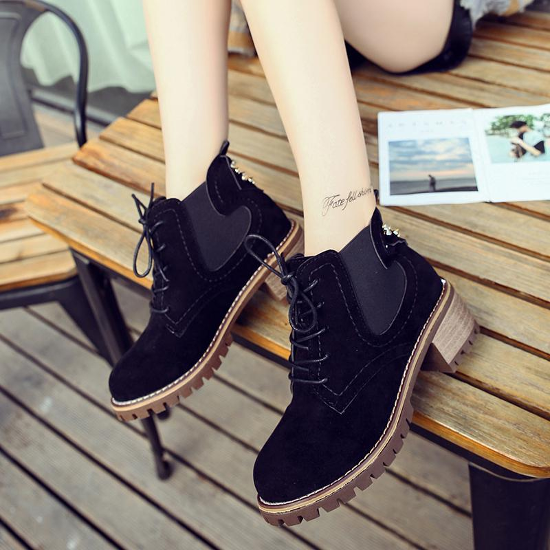 c77926b0159 Lucyever 2019 Spring Women Ankle Boots Round Toe Chunky Heels Ladies  Western Boots Lace Up Chelsea Booties Botas Mujer Invierno Motorcycle Boots  ...
