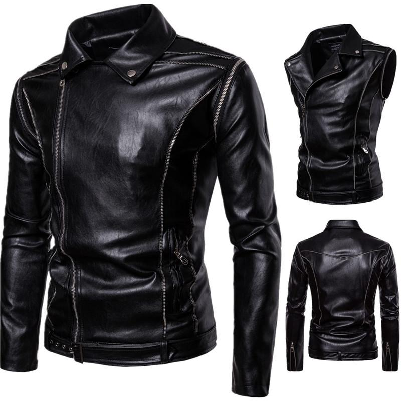 Nice New Men Locomotive Leather Detachable Sleeves Jackets Casual Men PU Leather Jacket Clothing For Male Motorcycle Autumn