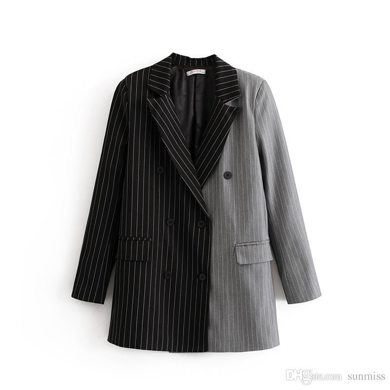 عارضة المرأة أسود / رمادي اللون فسيفساء عارضة بدلة الصغيرة طية صدر السترة ثلاثة الصدر طويلة الأكمام العمودي المشارب جيب الديكور بدلة