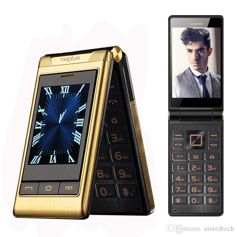 Original TKEXUN Luxury Business Flip Phone GSM Big Push-Button Old Man Flip Mobile Phone Dual Sim Card Bluetooth FM Radio Unlocked Cellphone