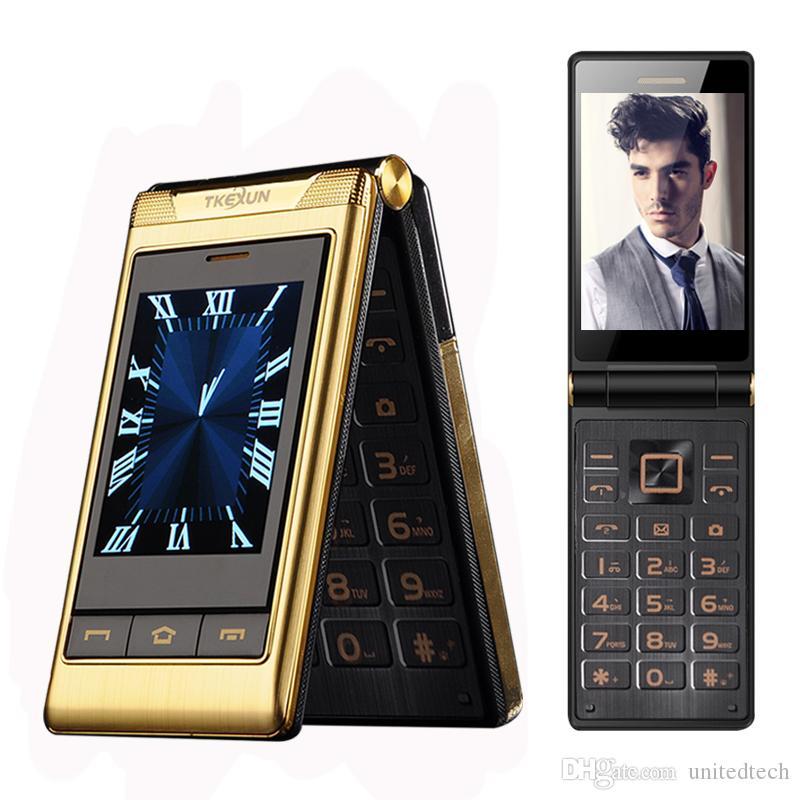 الأصلي TKEXUN التجارية الفاخرة الوجه الهاتف GSM كبير الضغط على زر العجوز الوجه الهاتف المحمول المزدوج سيم بطاقة بلوتوث راديو FM Unlocked