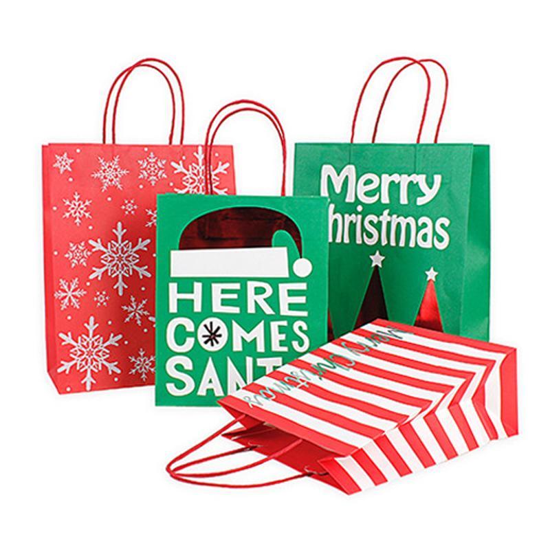 Sacchetto di carta regalo di Natale con manico rosso verde Kraft Paper Bags Stripe Snowflake Stampa Xmas Gift Paper Bag Dolci Candy Pouch DBC VT1109