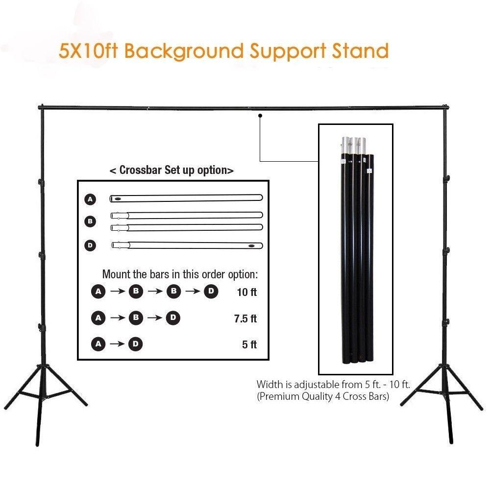 10Ft Профессиональная фотография Фон стойки Set Фото Студия Регулируемое фона Поддержка Стенд Фото Crossbar студии Kit