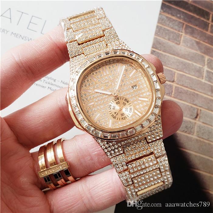 Guarda Business Gold Tone Men Dress orologi del diamante di Bling del quarzo degli uomini impermeabile progettista donne in acciaio inox amanti del regalo orologio orologi