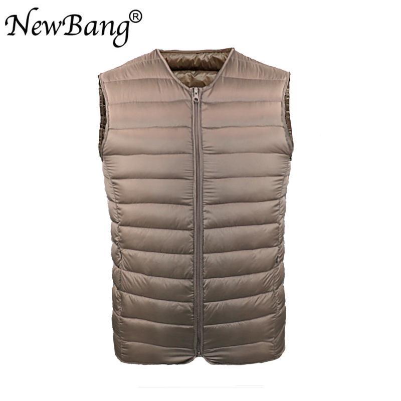 NewBang Gilet d'homme Gilet ultra léger vers le bas Hommes col en V Portable Zipper manteau sans manche homme sans col Liner chaud