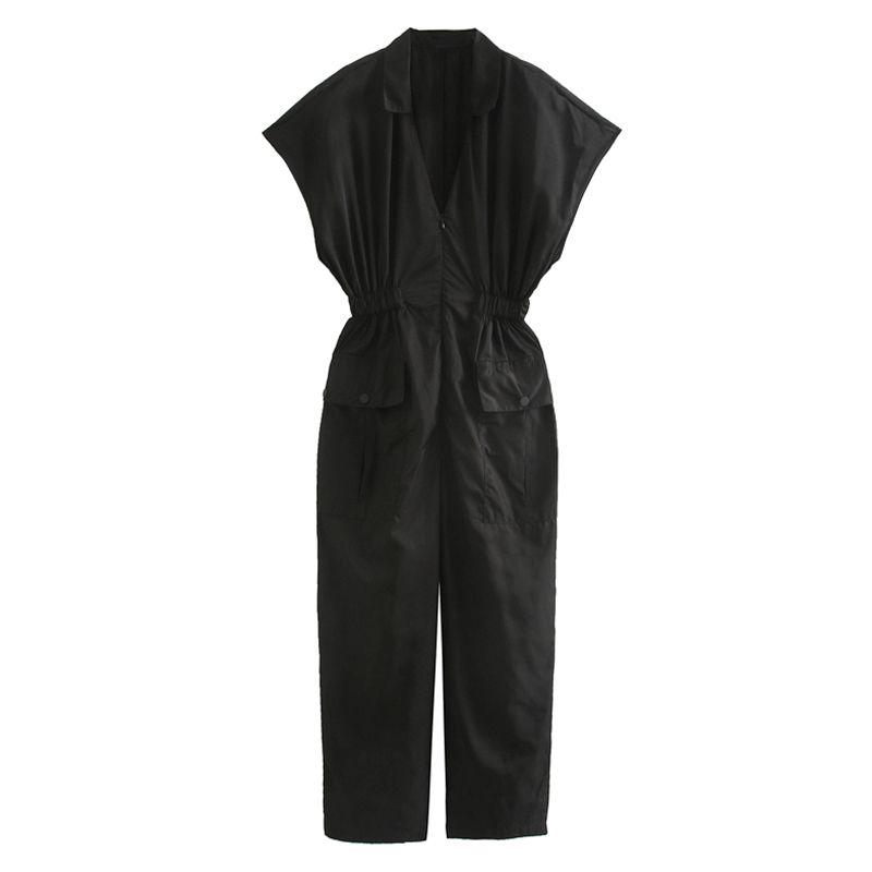 Fandy Lokar mit V-Ausschnitt Jumpsuits Women Fashion Solid Gesammelte Taillierte Jumpsuit Frauen-elegante Taschen Jumpsuits weiblich Damen FD