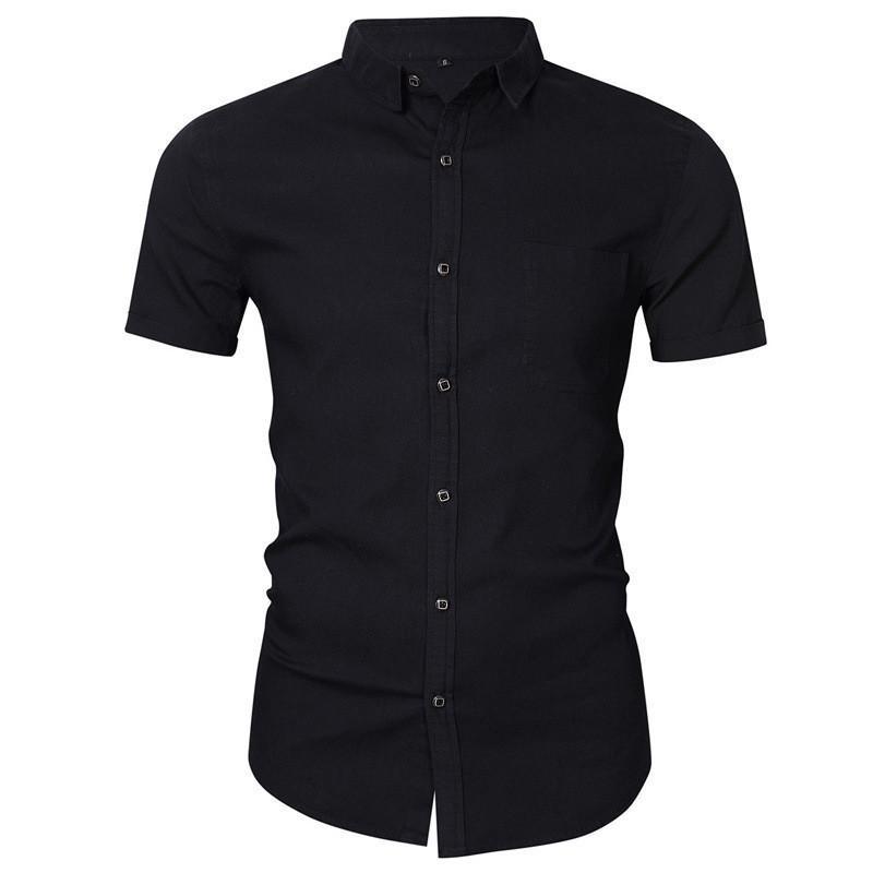 Летняя мода Тонкий Solid Color Turn Down Воротник Tops конструктора Mens рубашки Mens люкс с короткими рукавами кардиган