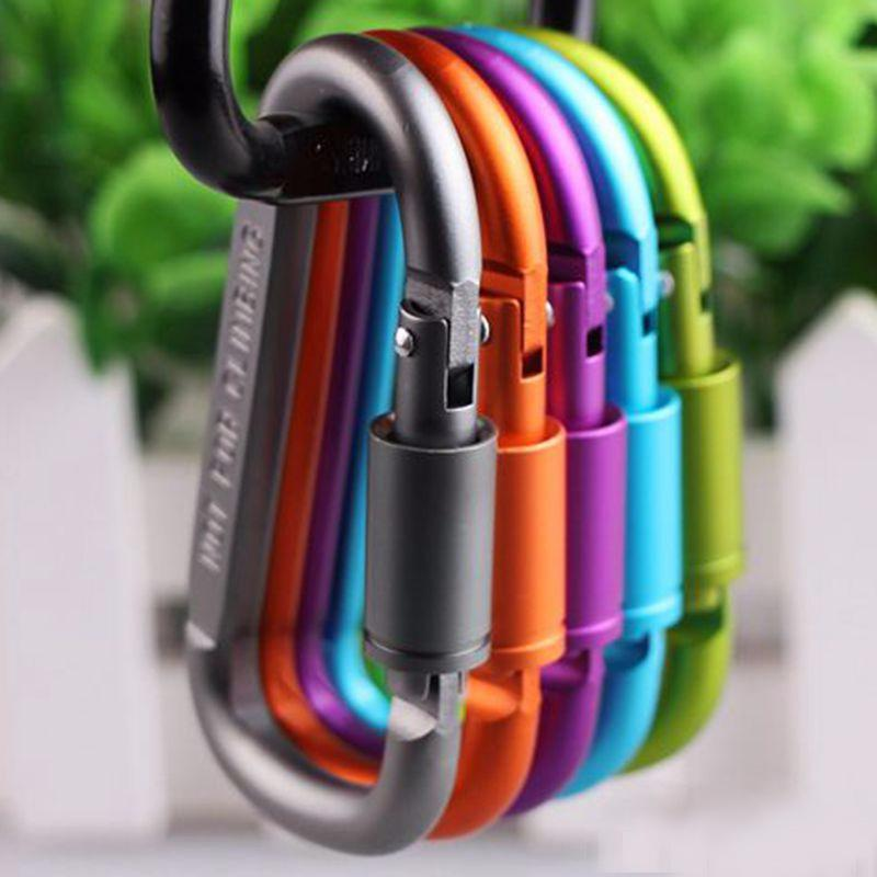 New Carabiner Ring Keyrings Key Outdoor Sports Climbing Buckle Camp Snap Clip Hook Key Chain Sturdy Metal Colour Camping Aluminum Alloy