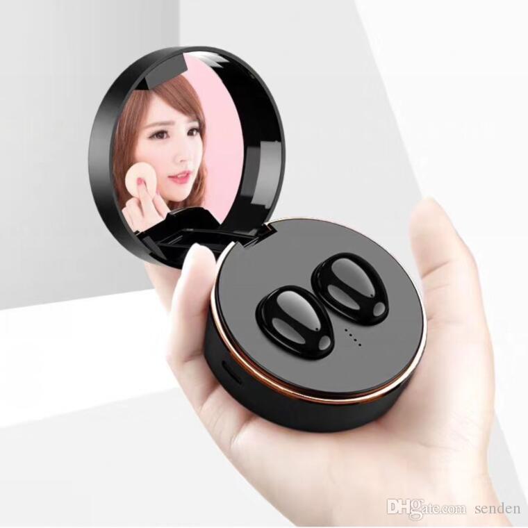 Audífonos inalámbricos verdaderos portátiles TWS Auriculares de alta fidelidad con espejo cosmético Estéreo Bluetooth 5.0 Auriculares impermeables Auriculares deportivos con caja de maquillaje
