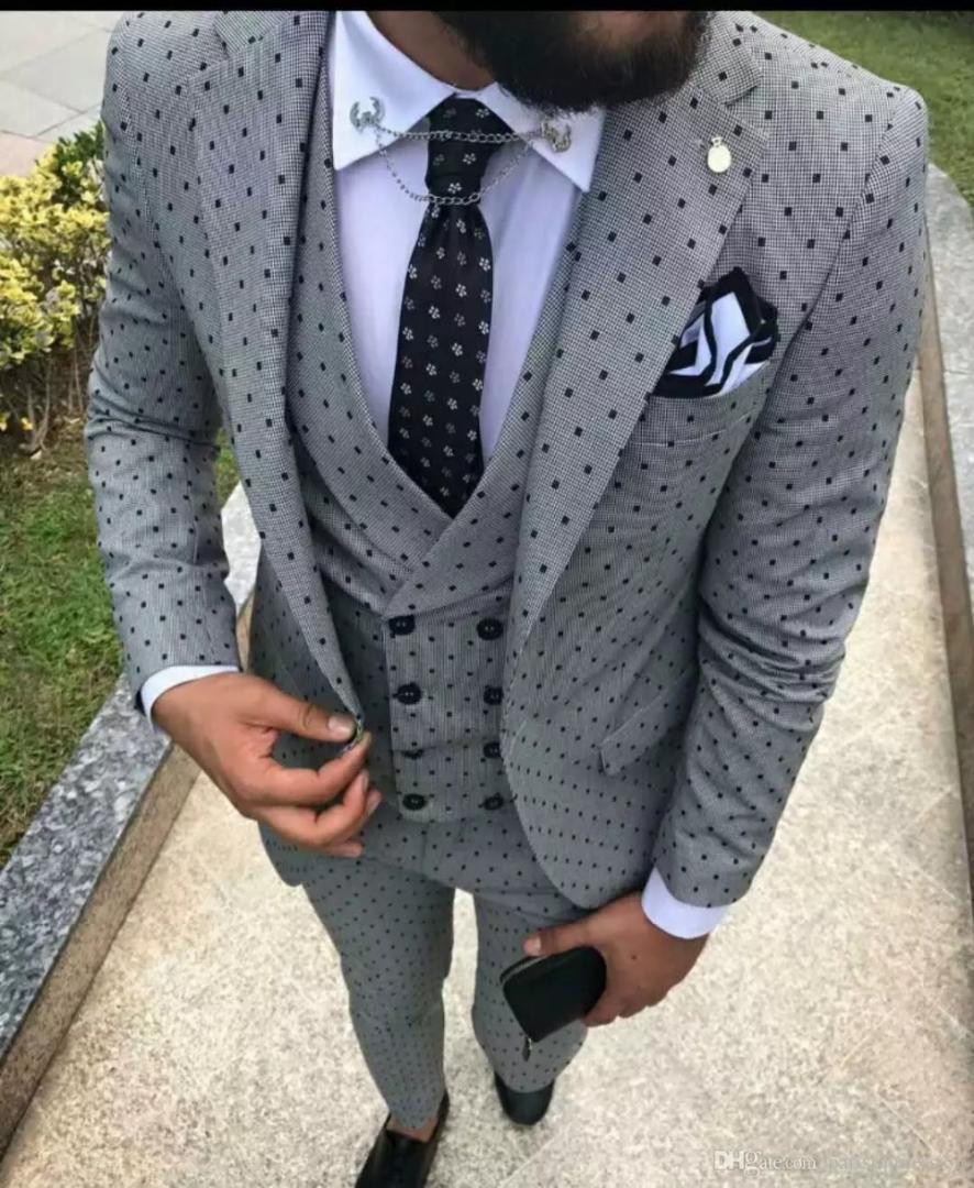 2018 Yeni Varış Gri Desen Erkekler Suit Slim Fit Klasik Düğün Takımları Erkekler Için Resmi Özel Smokin 3 Parça Suits Terno