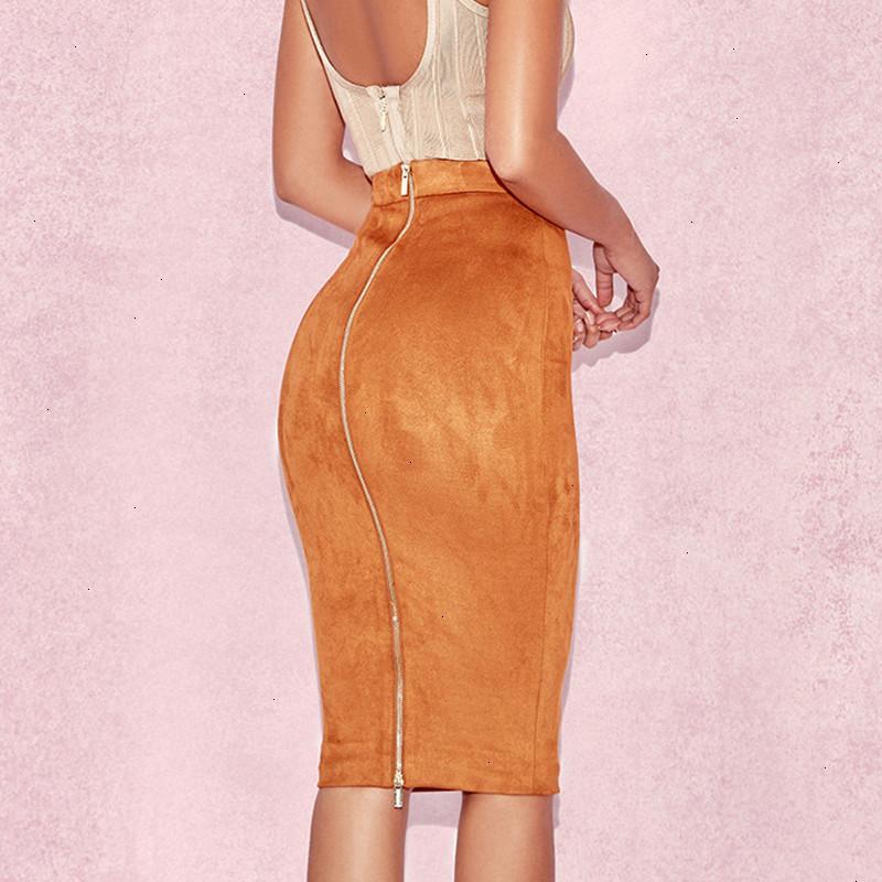 Designer Röcke für Frauen-Frauen Taille Suede Bodycon Midiröcke Kunstleder Reißverschluss-Bleistift-Büro-Dame Elegant Wear New Fashion