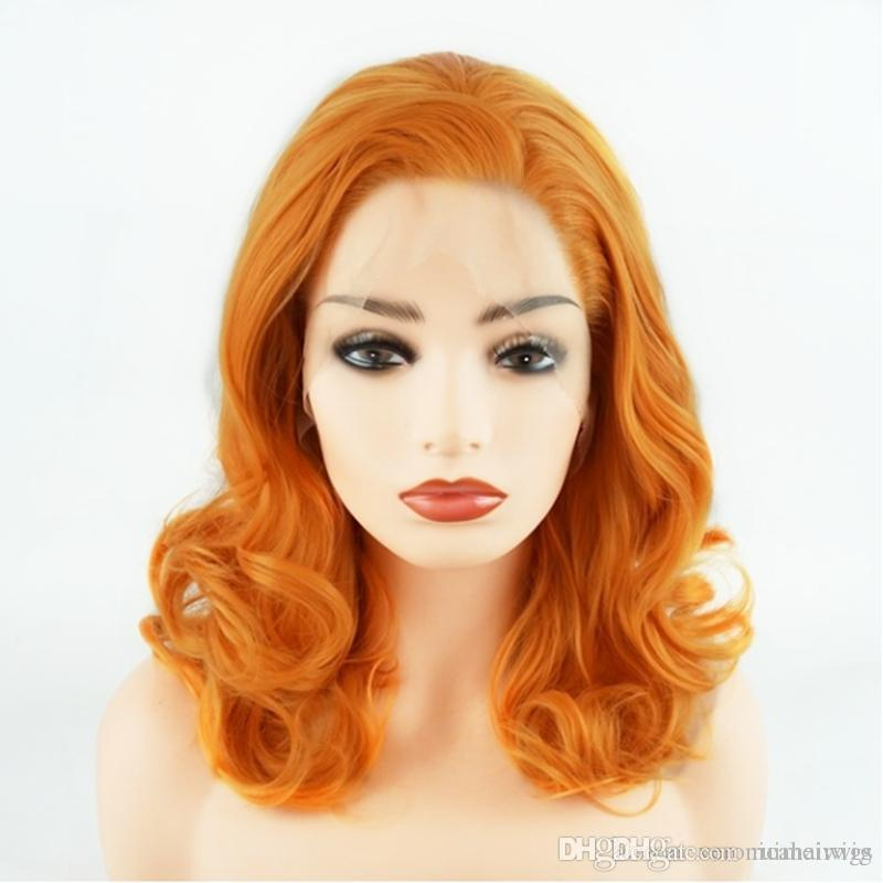Free Shipping Short Wavy Shoulder Length 16inch Orange Half Hand Tied Heat Resistant Glueless Synthetic Lace Front Wigs for Women 180%