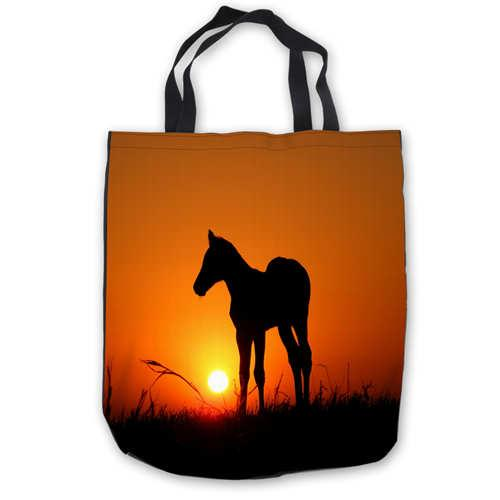 Custom Canvas Abstract-Horse-font-b (1) ToteBags Hand Bags Shopping Bag Casual Beach HandBags Foldable 180911-04-58