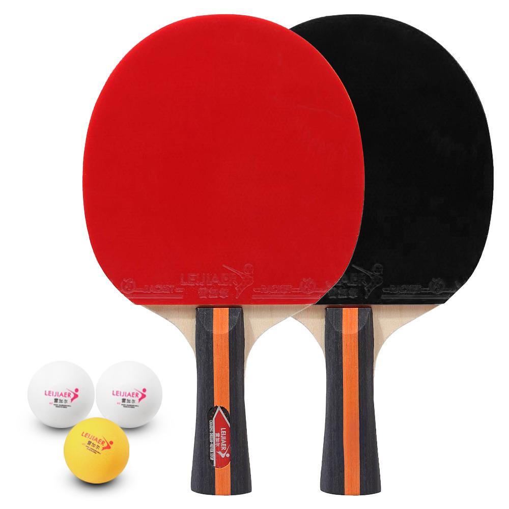 Tischtennis 2 Spieler Set 2 Tischtennisschläger Tennisschläger und 3 Tischtennisbälle mit Abdeckung Tasche