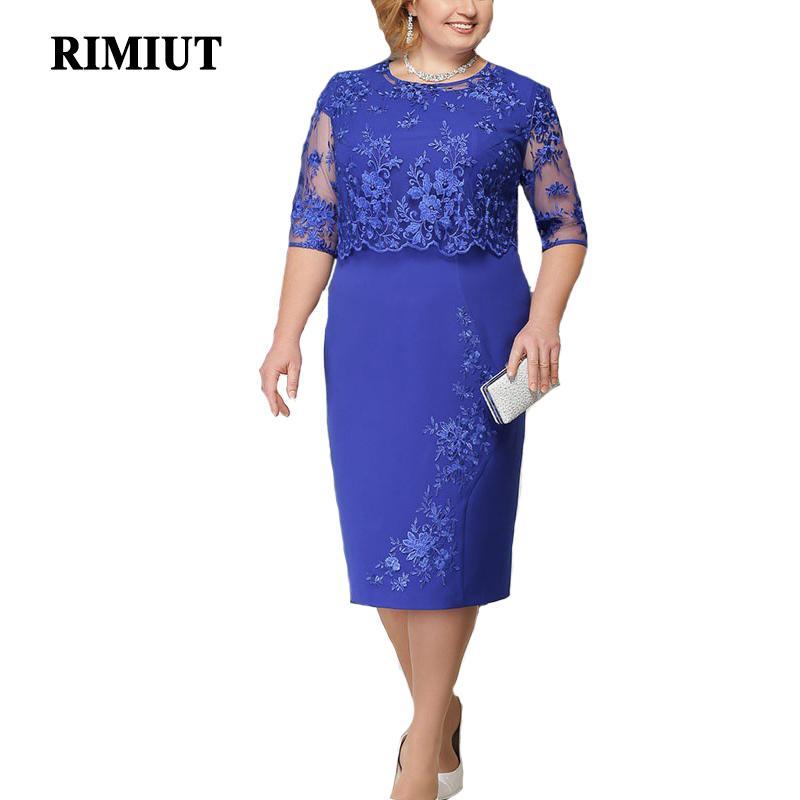 Rimiut 5xl 6xl donne estate autunno big size dress elegante abito di pizzo femminile di grandi dimensioni abiti da sera da sera vestido plus size j190611