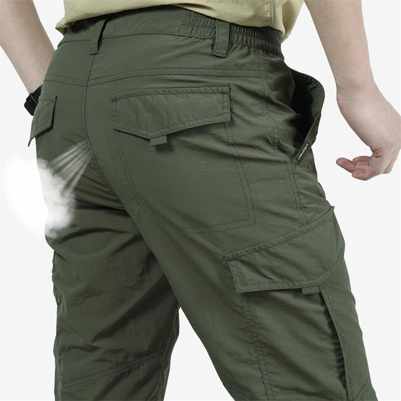 Men's Lightweight Tactical Pants Breathable Summer Casual Army Long Trousers Male Waterproof Quick Dry Cargo Pants