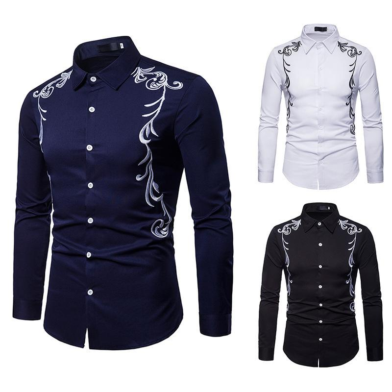Pop2019 Cross Border For Man Imperial Family Court Wind Embroidered Lapel Will Code Length Sleeve Shirt 18