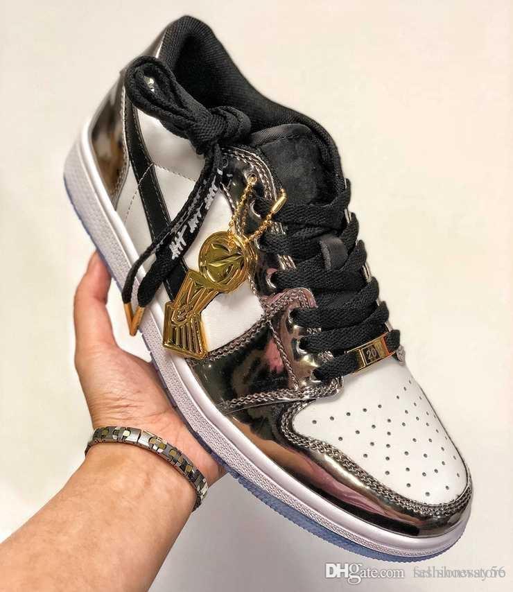 Chaussures pas cher Basketball Kawhi Leonard 1 passe le flambeau Champion 2014 1s Formateurs Argent Blanc chaussures de sport chaussures de sport pour hommes avec la boîte vente chaude