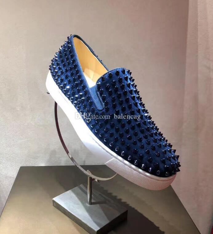 Chaussures de créateurs Spike Mocassins à fond rouge Baskets en cuir suédé Junior Mocassins Casual Chaussures à enfiler Luxe Hommes Femmes Taille avec Dust Bag