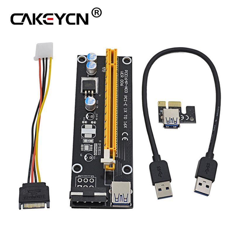 PCI-E 1x إلى 16x موسع PCI Express Riser Card 60cm USB 3.0 SATA to 4Pin IDE Molex Adapter for Mining Bitcion Miner