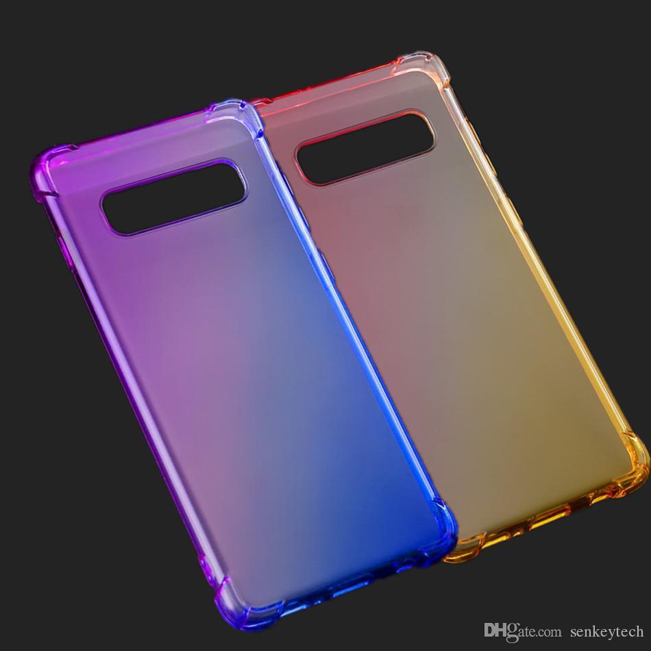 التدرج قوس قزح اللون صدمات واضح tpu حالة الهاتف الخليوي ل فون xr xs ماكس 7 8 6 ثانية سامسونج غالاكسي s10 زائد s9 s8 ملاحظة 9