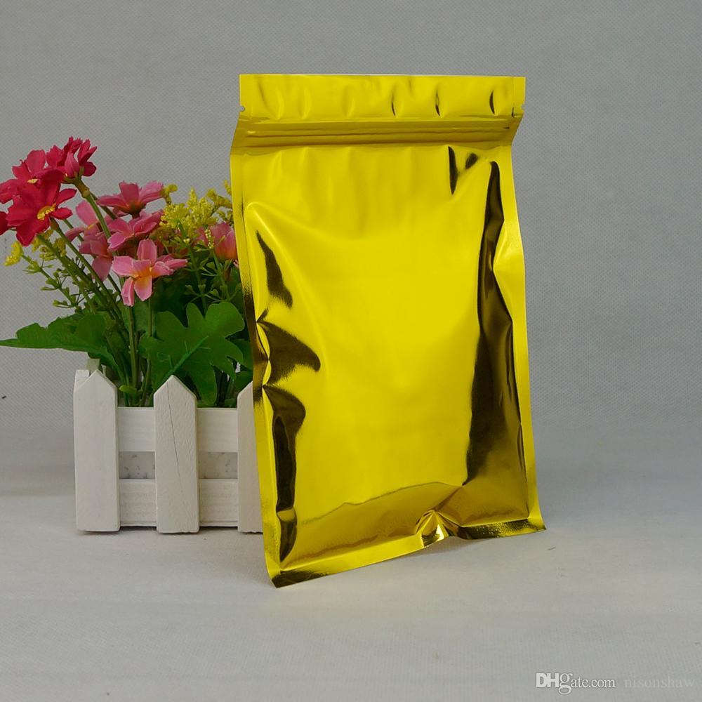 Tasca semi semi di melone 18 * 26 cm, 100 pezzi / lotto X Custodia ziplock in foglia d'alluminio oro-oro mylar antipolvere pistacchio custodia clip cerniera sigillo