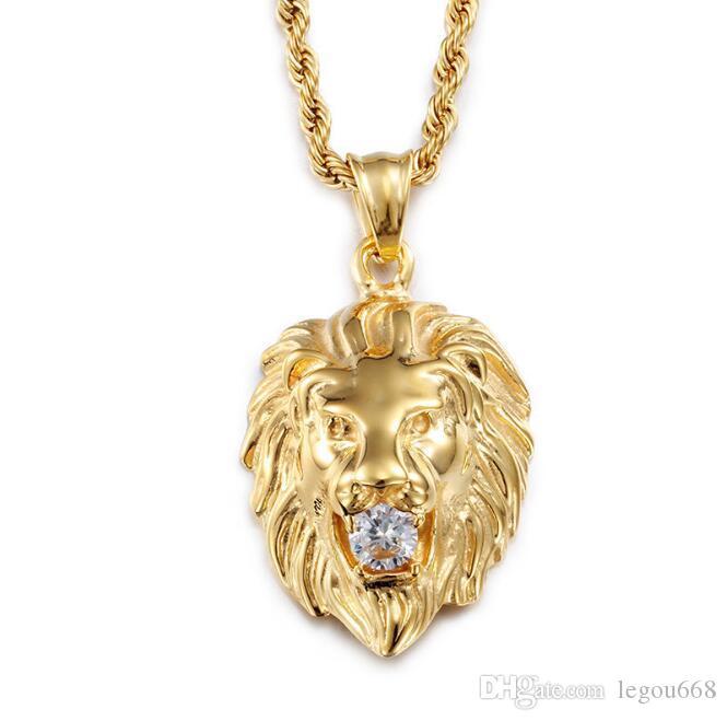 Link Zinciri GB1267 ile Mens Altın Gümüş Renk 316L Paslanmaz Çelik Lion Baş kolye kolye Yapay elmas işlemeli