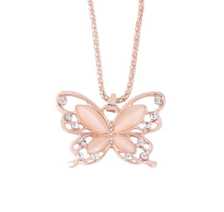 Nuevo collar pendiente animal personalidad creativa tendencia de la moda de la mariposa de Europa y América Boutique incrustaciones de joyería simple de diamante
