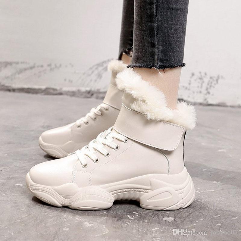 Automne et Hiver Augmenter la neige en peluche Dans Chaussures Coton sauvage Confortable simple fond épais Casual Martin Bottes