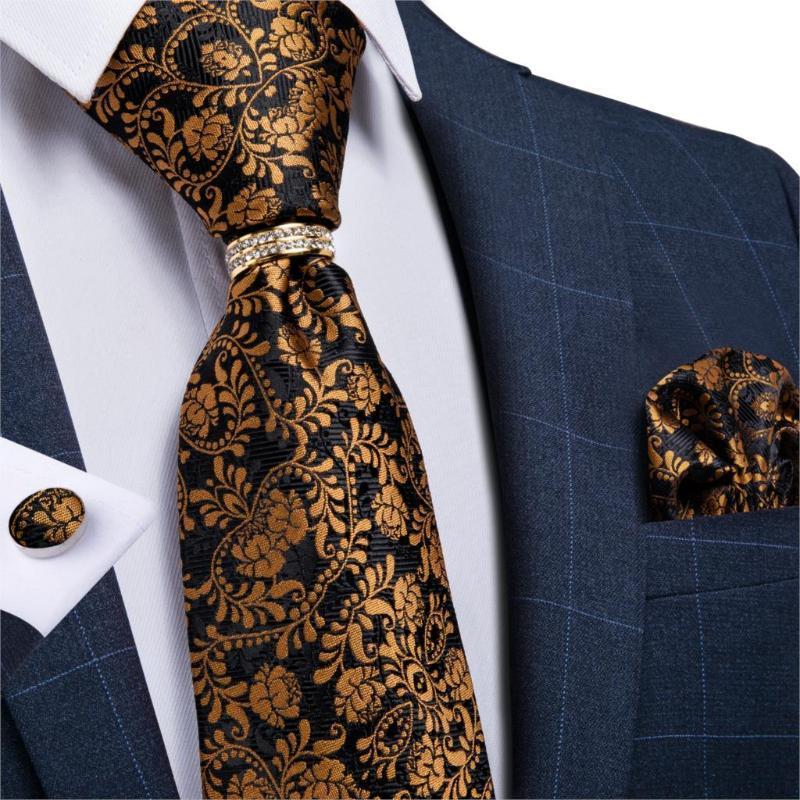 DiBanGu Mens Silk Wedding Bindung Gold Schwarz Blumenmode-Krawatte für Männer Krawatte Ring Hanky Cufflink Set Geschäfts Party-