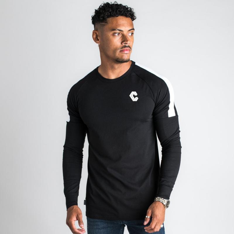Cotton T-shirt esportes funcionar Shirts Homens ginásio Formação magro preto camiseta de manga comprida masculina outono Tee Tops da marca de roupa