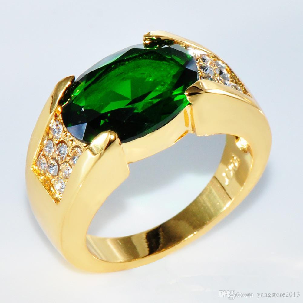 أزياء النسخة الشهيرة الحجم 8-11 الرجال الدائري الحجر كبير زركونيا تشيكوسلوفاكيا كريستال الذهب مملوءة رجل الاشتباك خاتم الزواج مجوهرات للهدايا