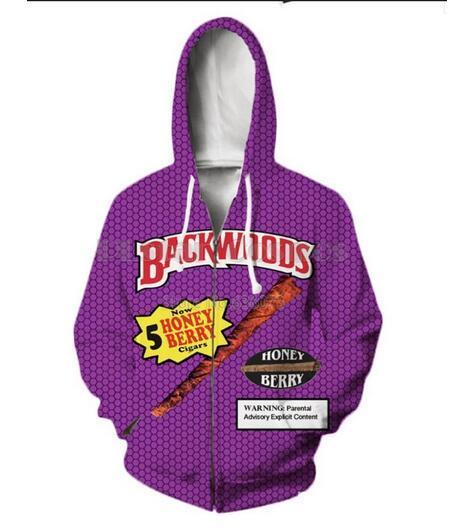 Yayın Moda Erkek Kadın Ceket Kaban Uzun Kollu Sonbahar Spor Backwoods ile 3d Baskı Fermuar Hoodies Giysi Artı Boyutu RLM013