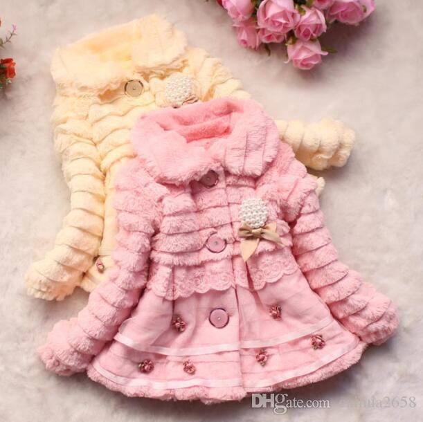 thick baby girl parkas coat bow lace faux fur warm overcoat for 1-8yrs girls children kids thick Winter outerwear clothes hot