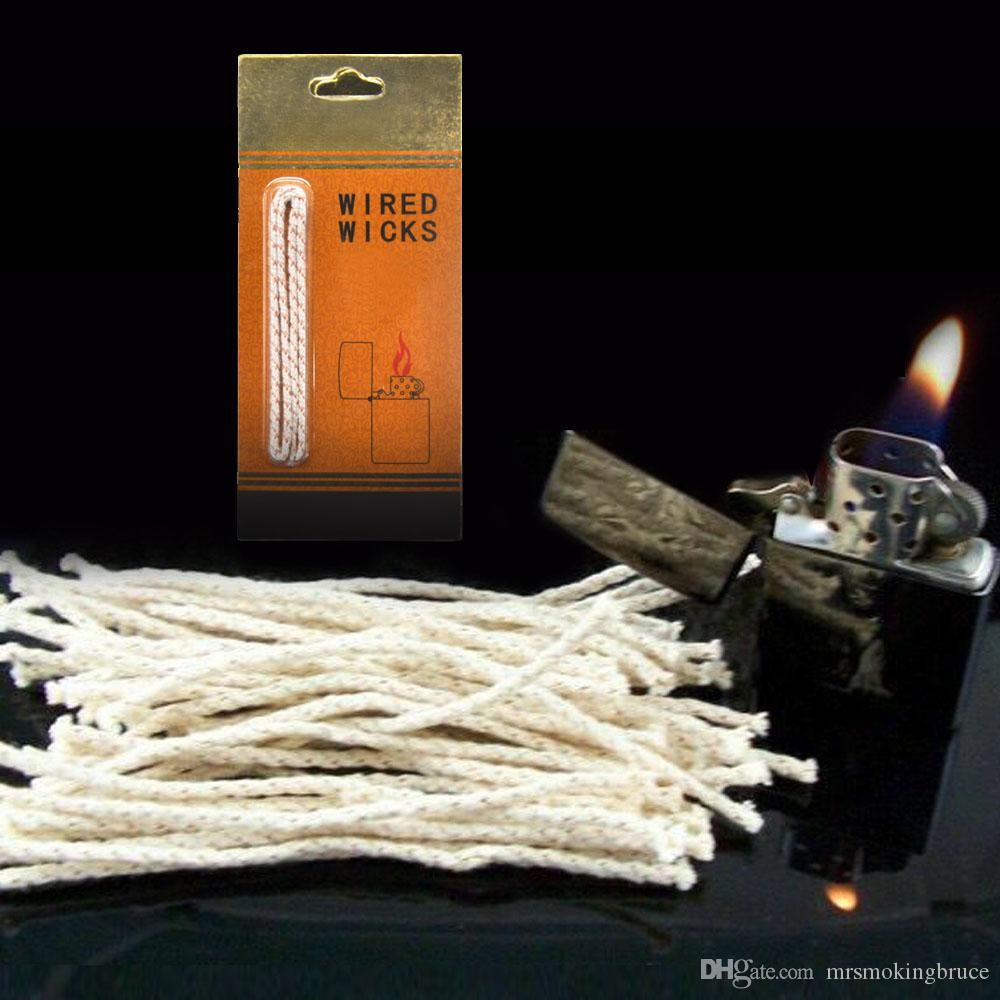 New Arrive Premium Copper Wire Wired Cotton Core Wick Wicks Thread For Petrol Oil Lighters 140MM Original Lighter Wicks Smoking Herb Pipes