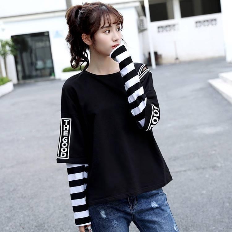 Japan Hip Hop T-shirts Men Women Funny Casual Long Sleeve Strip Harajuku Tshirt Streetwear Women Fake two piece T shirt Girls CY200513