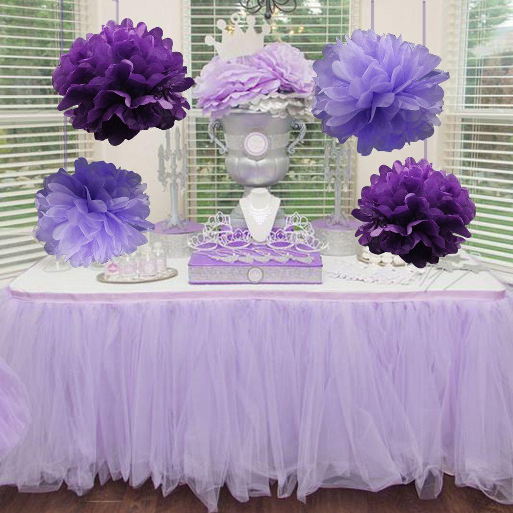 5pcs/Pack 15cm,20cm,25cm Lavender/Purple Tissue Paper Pom Poms For Baby Girl Princess Birthday Party Wedding Party Decoration