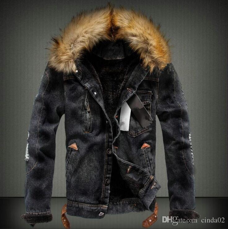 Мужская джинсовая куртка с меховым воротником в стиле ретро рваные флисовые джинсы Куртка и пальто для осени зима