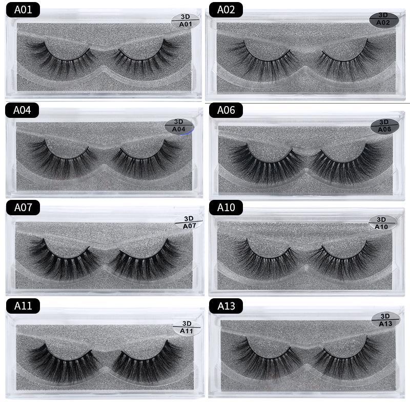 1Pair 3D Mink Eyelashes 15 Styles 3D Full Strip False Eyelash Long Individual Handmade Mink Eyelashes A Series Multi-layer Thick Lashes
