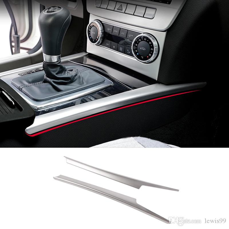 Car Styling Gear Shift Box Sequins Water Cup Holder Cover Trim Stall Decoration strip sticker For Mercedes Benz C class W204 2008-2014