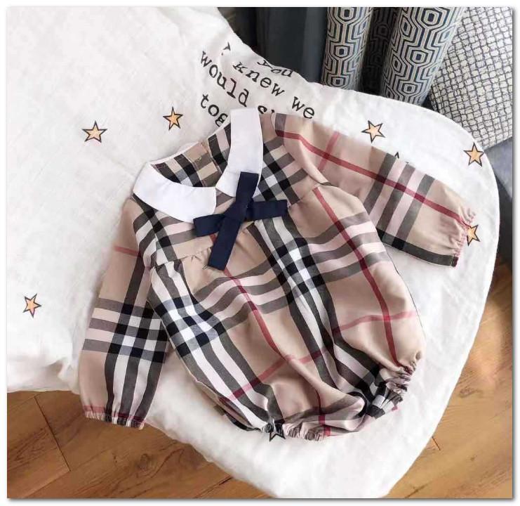 2020 Новые детские девочки луки галстук плед ползунки детские дети отворот с длинным рукавом Комбинезоны дизайнер детской одежды мальчиков хлопка белье ползунки P0231