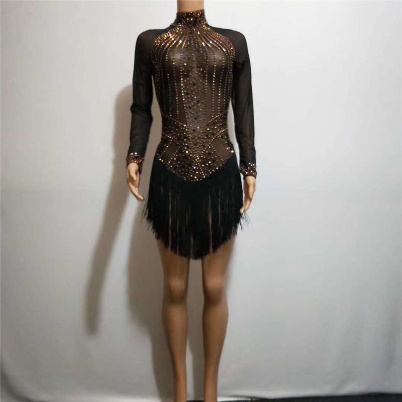 sexy D02 preto malha strass curto borla veste vestido desempenho singer dança trajes bar bodysuit partido do clube saia Siamese Latina