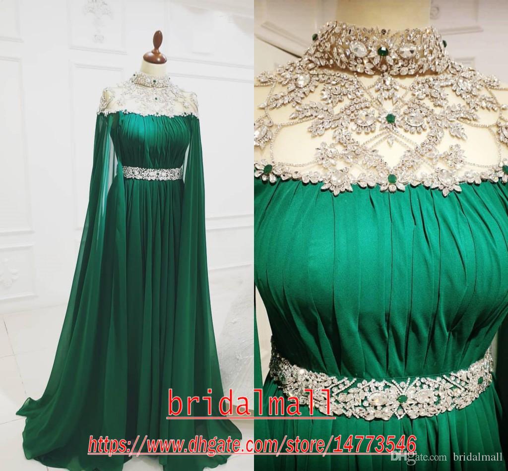 ASO Ebi 2020 Arabisch Grün Lange Abendkleider Perlen Kristalle Prom Kleider Chiffon Sexy Formale Partei Zweiten Empfang Kleider Roben de soirée