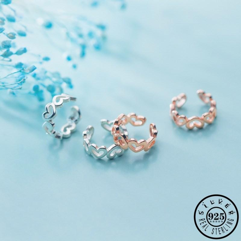 الموضة 925 Sterling Silver Small Love Shape Clips Arrits Rose Gold Color Plated Ear Kims Without Piecing For Women