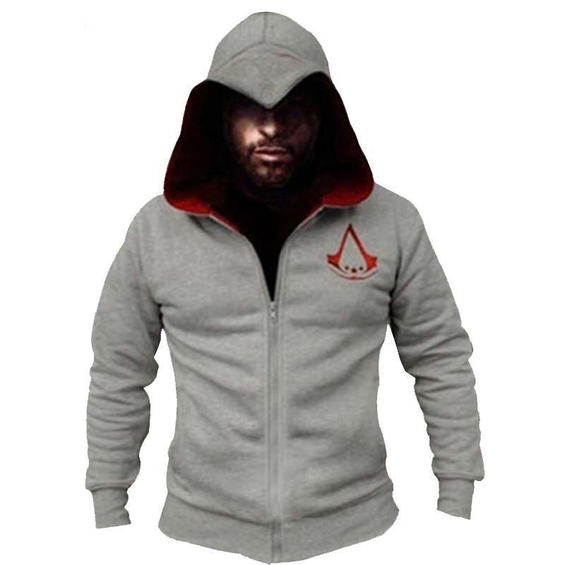 Mode Hommes Assassins Creed Sweat à capuche Hombre Automne Hiver à capuche solide Sweatshirts hommes cosplay Chadal cool Porter des vêtements