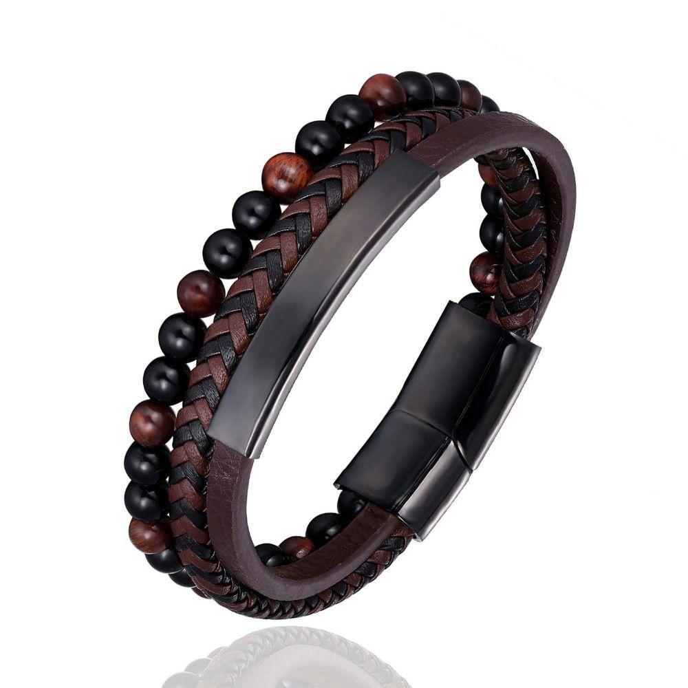 Mode Homme Bijoux Tressé Bracelet en cuir Perles Bracelet en acier inoxydable noir magnétique fermoirs hommes poignet Cadeaux