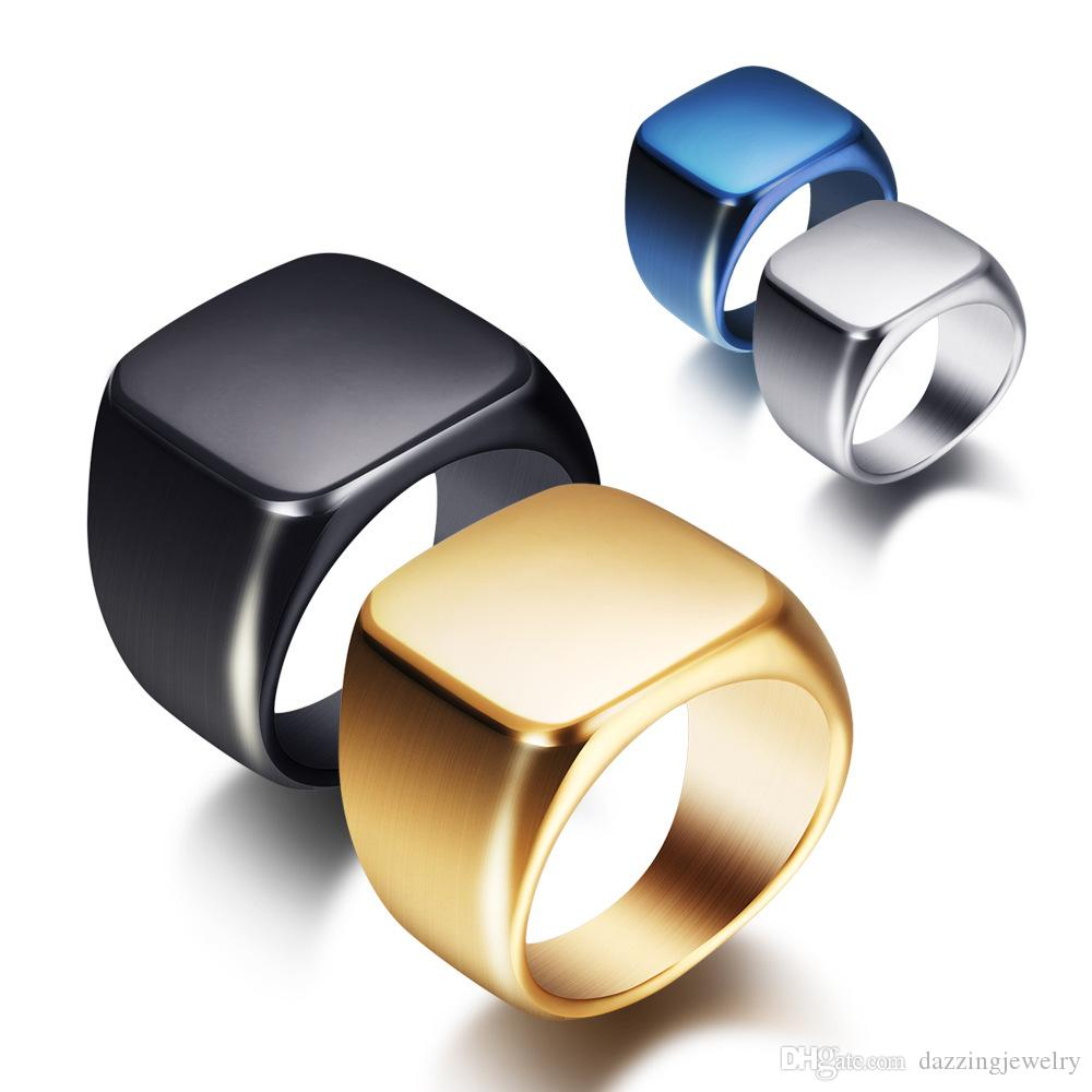 Custom Logo High Polished Shining men's 316L Stainless Steel Solid back 18k Gold Black Blue Silver Simple rings Jewelry with Glossy face