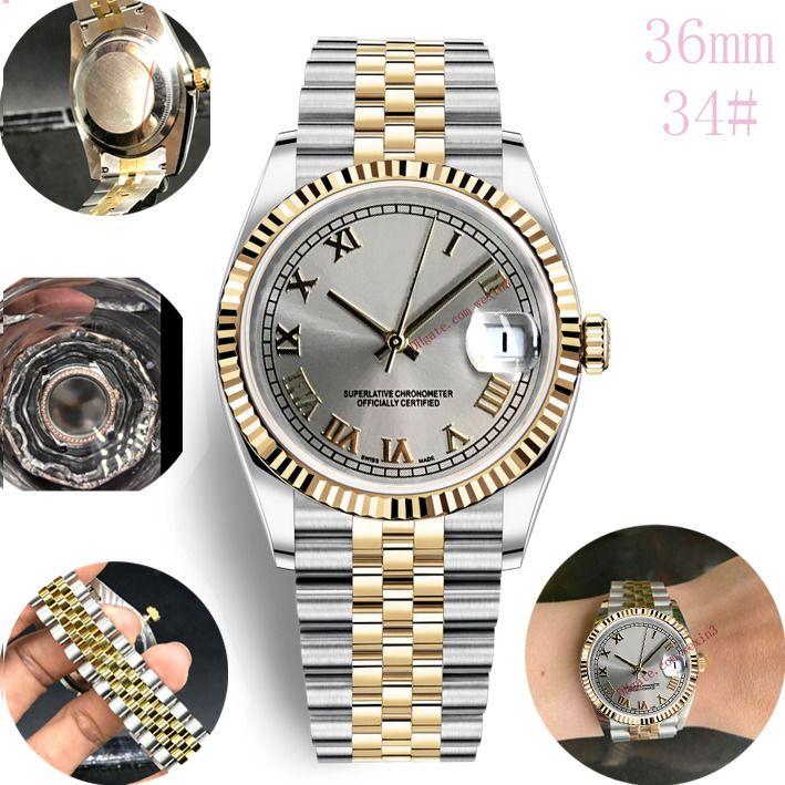 4 Renk Kadın Saatler Lüks Antik Roma Pembe Dış Halkalı Beyaz Paslanmaz Çelik Rose Gold 36mm Otomatik saatı Dial Smooth