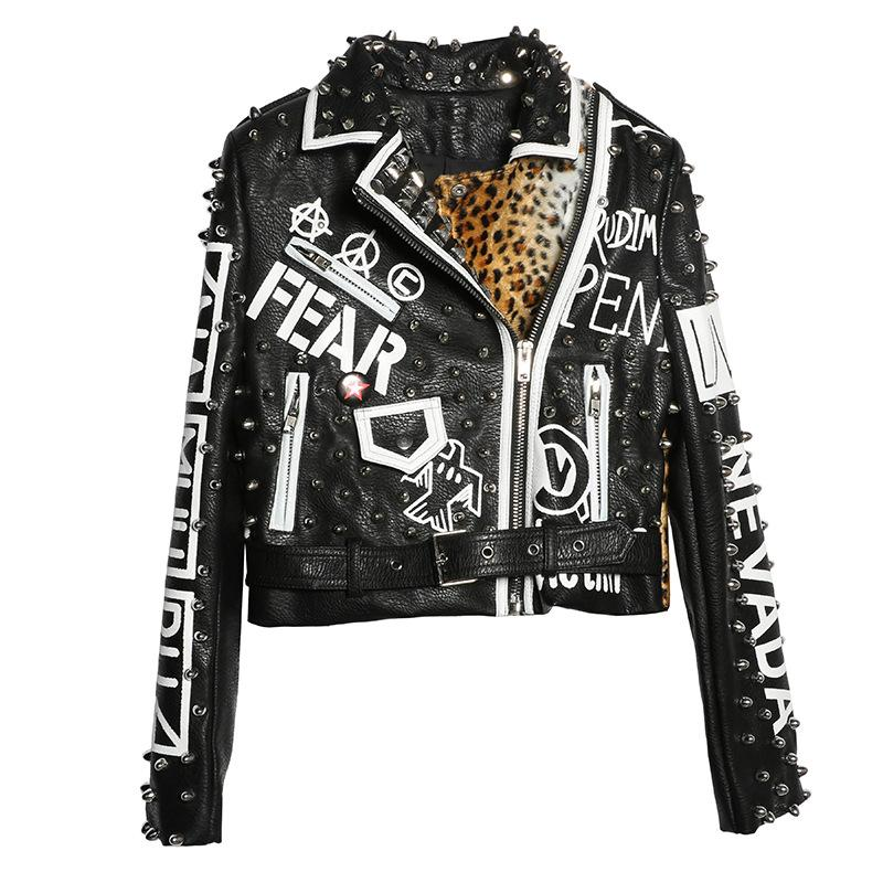 Black Punk Style Women Leather Jacket 2019 New Arrival Faux Leather Printing Leopard Women Coats and Jackets with Rivet