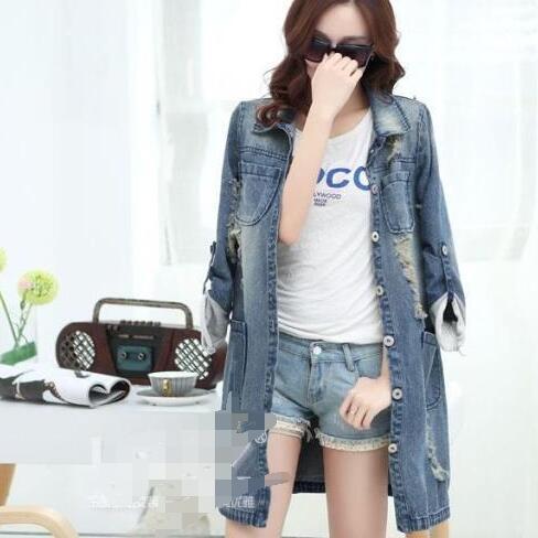 Plus Size 5XL Giacca di jeans Donne 2020 jeans lunghi manica del cappotto casuale femminile strappato Giacca di jeans Tops WF322 CY200515